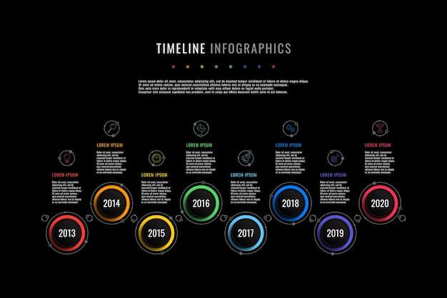 Modèle d'infographie de chronologie horizontale avec indication de l'année des éléments ronds et zones de texte