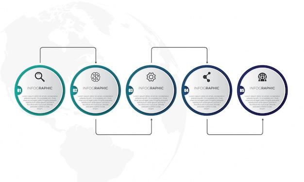 Modèle d'infographie de la chronologie horizontale