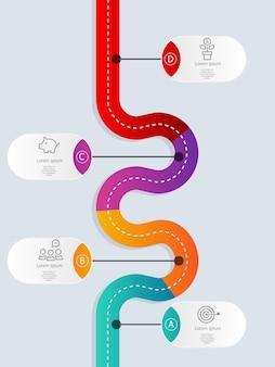 Modèle d'infographie de chronologie de manière abstraite avec quatre étapes