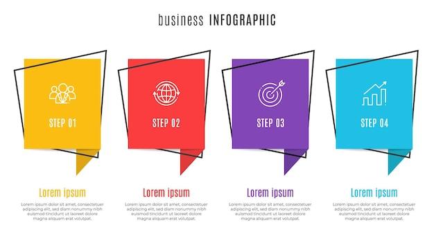 Modèle d'infographie de chronologie moderne 4 étapes