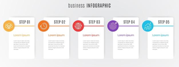 Modèle d'infographie de chronologie moderne 5 étapes