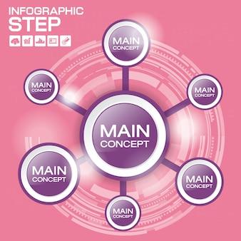 Modèle d'infographie de chronologie avec options, diagramme de processus