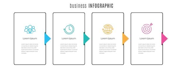 Modèle d'infographie de chronologie plate 5 étapes