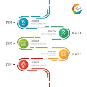Modèle d'infographie de chronologie de route abstraite en 5 étapes.