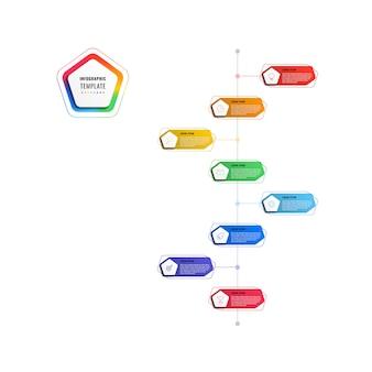 Modèle d'infographie de chronologie verticale 8 étapes avec pentagones et éléments polygonaux sur fond blanc. visualisation de processus d'affaires moderne avec des icônes de marketing en ligne mince. illustration