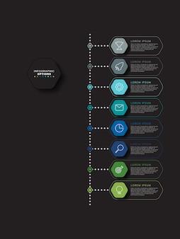 Modèle d'infographie de chronologie verticale avec huit éléments hexagonaux multicolores sur fond noir