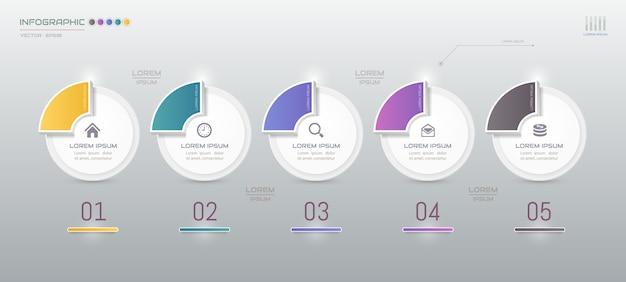 Modèle d'infographie avec cinq étapes avec des icônes