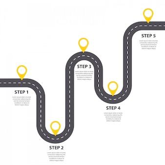 Modèle d'infographie. cinq étapes route goudronnée sinueuse avec aiguilles.