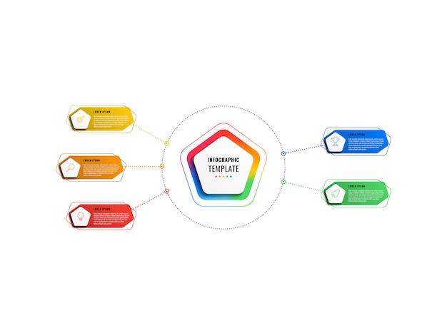 Modèle d'infographie de cinq options avec pentagones et éléments polygonaux sur fond blanc. visualisation des processus d'affaires modernes avec des icônes de marketing en ligne mince.