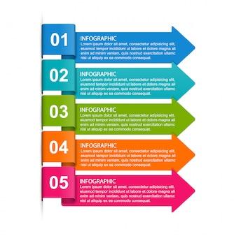 Modèle d'infographie avec cinq options