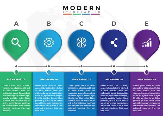Modèle d'infographie cinq timeline coloré
