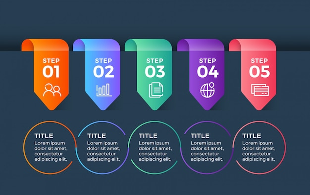 Modèle d'infographie coloré avec 5 étapes d'options