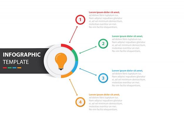 Modèle d'infographie coloré d'affaires avec 4 options