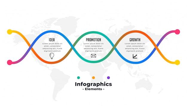 Modèle d'infographie coloré créatif en trois étapes