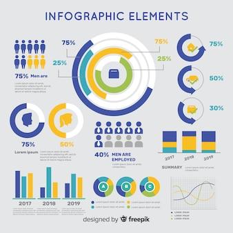 Modèle d'infographie coloré design plat