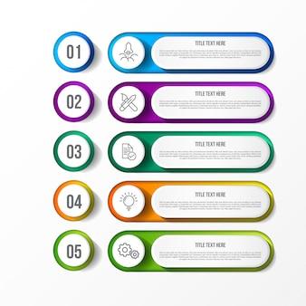 Modèle d'infographie colorfull avec étiquette en papier 3d