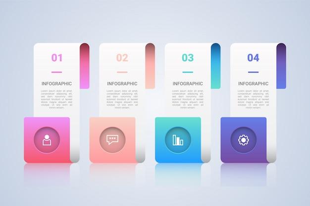 Modèle d'infographie commerciale avec des étiquettes en 4 étapes