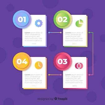 Modèle d'infographie avec concept d'étapes