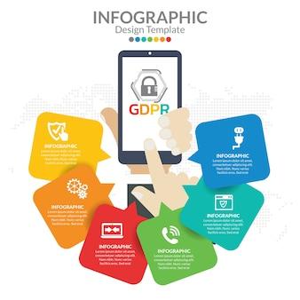 Modèle d'infographie concept gdpr.