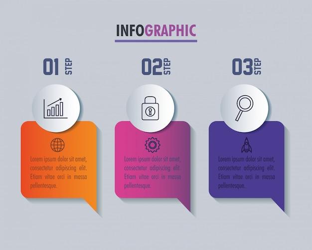 Modèle d'infographie avec concept d'icônes commerciales