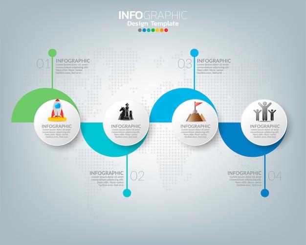 Modèle d'infographie avec concept d'icônes de marketing numérique.