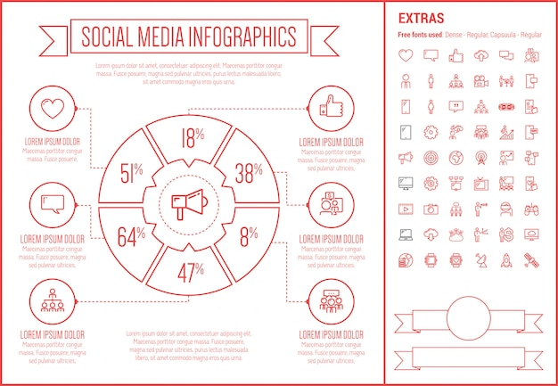 Modèle d'infographie de conception de ligne de médias sociaux