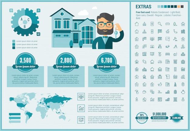 Modèle d'infographie de conception plate immobilier et ensemble d'icônes