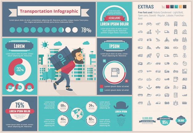 Modèle d'infographie de conception plate de transport