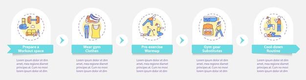 Modèle d'infographie de conseils d'exercice à domicile