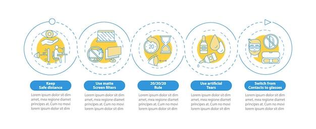 Modèle d'infographie de conseils de prévention de la fatigue oculaire numérique