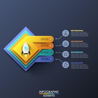Modèle d'infographie avec couches carrées et fusée spatiale décollant