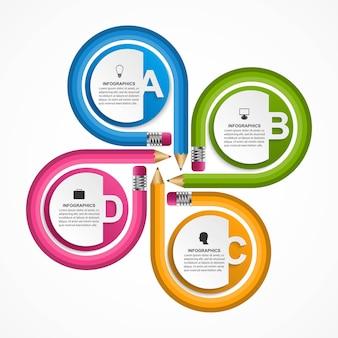 Modèle d'infographie avec crayon de couleur