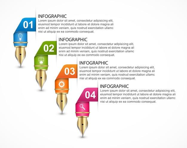 Modèle d'infographie avec un crayon de couleur.