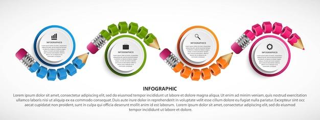 Modèle d'infographie avec un crayon.