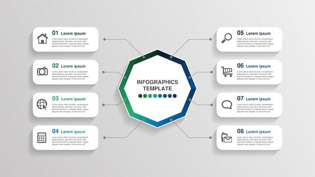 Modèle d'infographie créatif, 8 zones de texte rectangle avec pictogrammes.