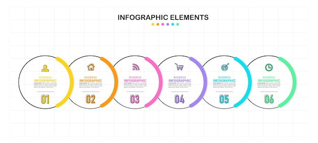 Modèle d'infographie créative en six étapes
