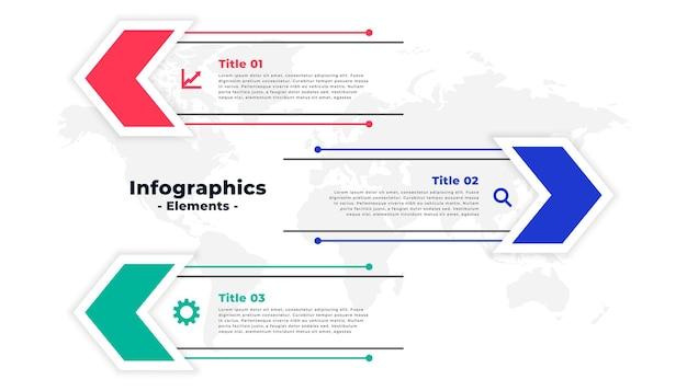 Modèle d'infographie dans la conception de style flèche