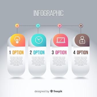 Modèle d'infographie dans un style dégradé coloré