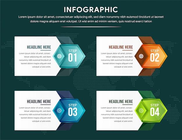 Modèle d'infographie découpé en papier dégradé avec forme hexagonale et flèches.