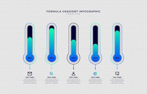 Modèle d'infographie dégradé d'étape moderne
