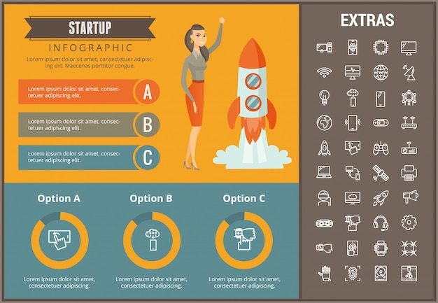 Modèle d'infographie de démarrage, des éléments et des icônes