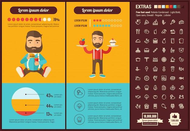 Modèle d'infographie design plat alimentaire et ensemble d'icônes