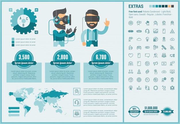Modèle d'infographie design plat réalité virtuelle et ensemble d'icônes