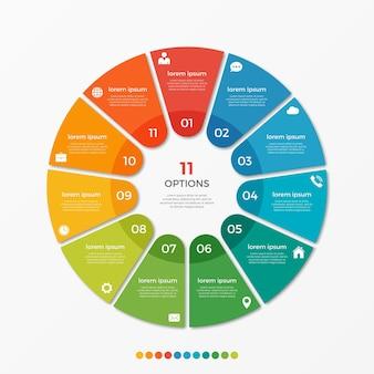 Modèle d'infographie de diagramme circulaire avec 11 options pour les présentations, la publicité, les mises en page, les rapports annuels