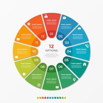 Modèle d'infographie de diagramme circulaire avec 12 options pour les présentations, la publicité, les mises en page, les rapports annuels