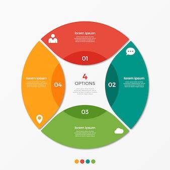 Modèle d'infographie de diagramme circulaire avec 4 options pour les présentations, la publicité, les mises en page, les rapports annuels