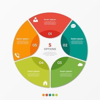 Modèle d'infographie de diagramme circulaire avec 5 options pour les présentations, la publicité, les mises en page, les rapports annuels