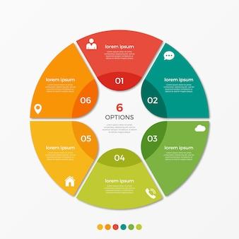 Modèle d'infographie de diagramme circulaire avec 6 options pour les présentations, la publicité, les mises en page, les rapports annuels