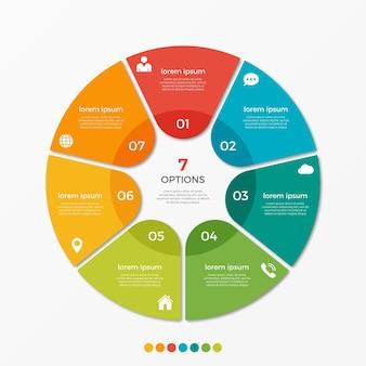 Modèle d'infographie de diagramme circulaire avec 7 options pour les présentations, la publicité, les mises en page, les rapports annuels