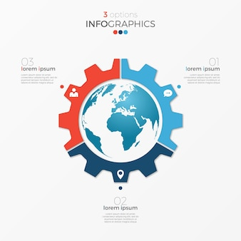 Modèle d'infographie de diagramme circulaire avec des options de globe 3 pour les présentations, la publicité, les mises en page, les rapports annuels